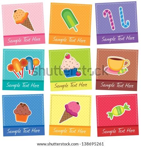 mix desserts digital clip art - stock vector