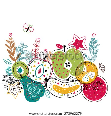 mix fruits illustration - stock vector