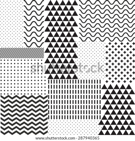 Mix geometric seamless pattern. Vector background - stock vector