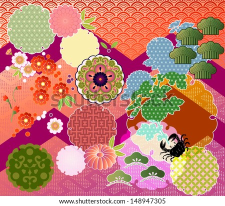 mix-n-match: traditional Japanese motifs interpreted in contemporary EPS-10 transparencies and blending modes - stock vector