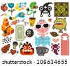 Mix of different vector images and icons. vol.58 - stock vector