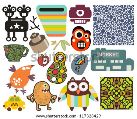 Mix of different vector images and icons. vol.61 - stock vector
