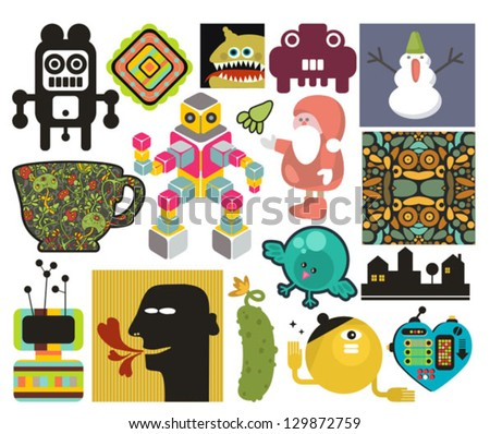 Mix of different vector images and icons. vol.65 - stock vector