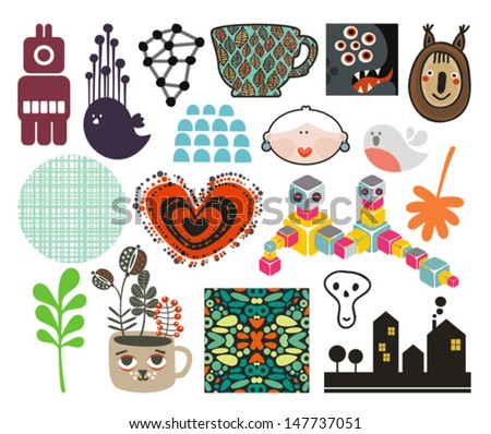 Mix of different vector images and icons. vol.67 - stock vector