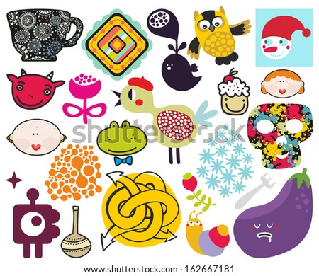 Mix of different vector images and icons. vol.69 - stock vector
