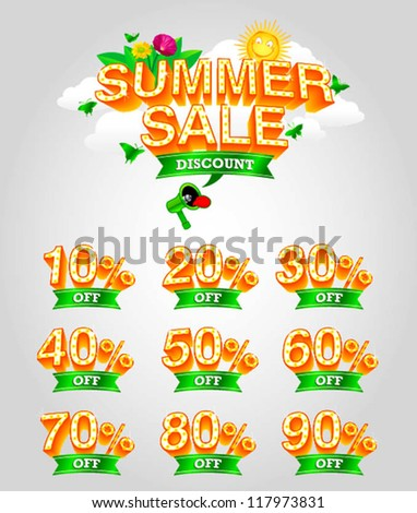 mix of summer sale vector - stock vector