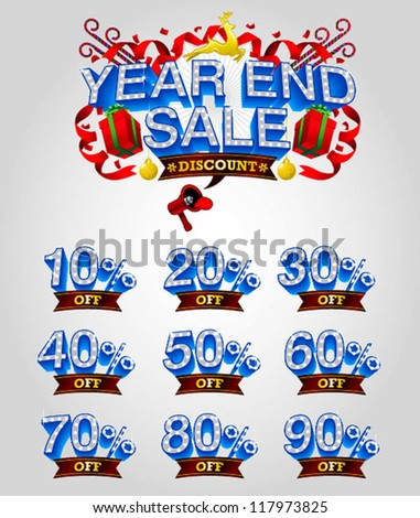 mix of year end sale vector - stock vector