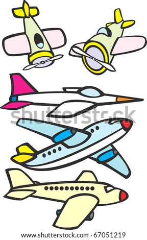 Mix set of toy like simple aircraft. - stock vector