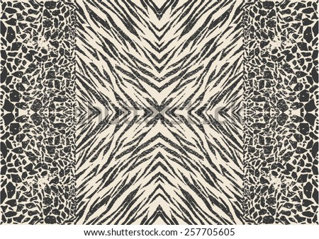 Mixed animal prints ,zebra skin with abstract pattern - stock vector