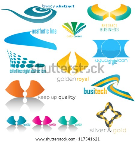 mixed business & technology icons, logo set - stock vector