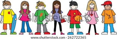 mixed ethnic teens  - stock vector