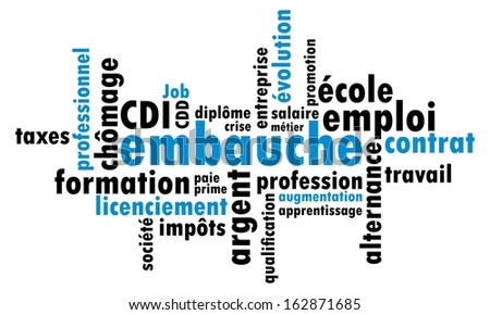 """Mixed French """"Hiring"""" Word Cloud vector illustration  - stock vector"""