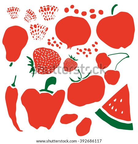 Mixed Fruits Vegetables Color Background Red Stock Photo Photo