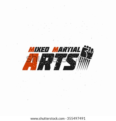 Mixed Martial Illustration with Flying Fist. Vector picture. Template for sticker, t-shirt, poster, banner, combat gym, business or art works. - stock vector