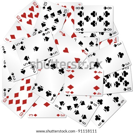 mixed playing cards - stock vector