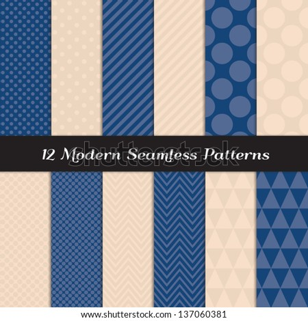 Mixed Polka Dot, Chevron, Stripes and Geometric Faceted Triangle Seamless Patterns in 2 Pantone 2013 colors of the year: Monaco Blue & Linen (pink beige) . Pattern Swatches made with Global Colors. - stock vector