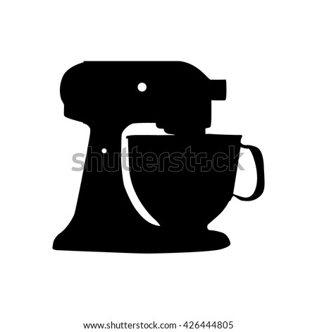 mixer with cup silhouette isolated - stock vector