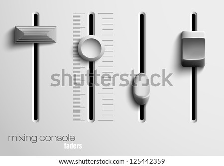 mixing console faders - stock vector