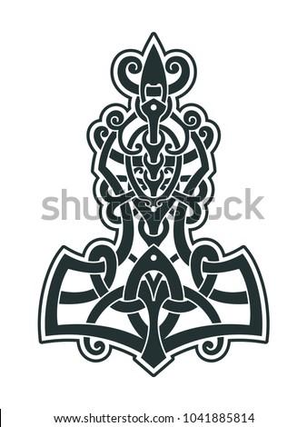 Mjollnir Thors Hammer Amulet Vikings Symbol Stock Vector Royalty