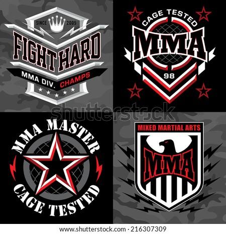 MMA mixed martial arts emblem badges - stock vector