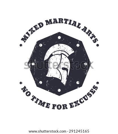 MMA, mixed martial arts grunge vintage octagon emblem with spartan helmet, vector illustration, eps10, easy to edit