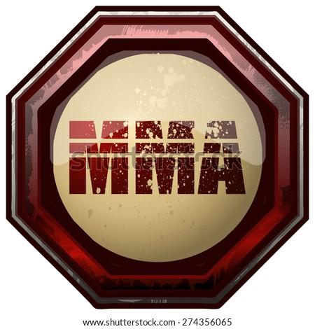 MMA Octagon Sign, Vector Illustration.  - stock vector