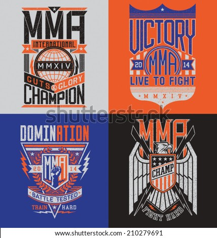 MMA t-shirt design emblem set  - stock vector