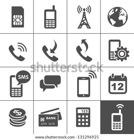 Mobile account management icons. Simplus series. Vector illustration - stock vector