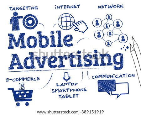 Mobile advertising. Chart with keywords and icons