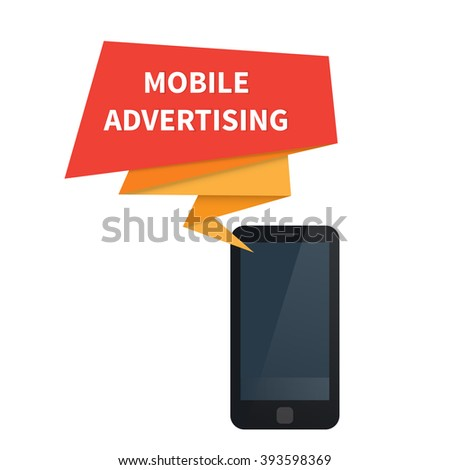 Mobile advertising marketing, Ad on smartphone. Vector illustration - stock vector