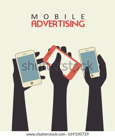 mobile advertising over beige background vector illustration - stock vector