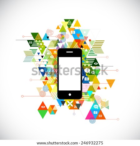 mobile and colorful geometric graphic template for corporate business, flyer, brochure, banner, cover. vector illustration