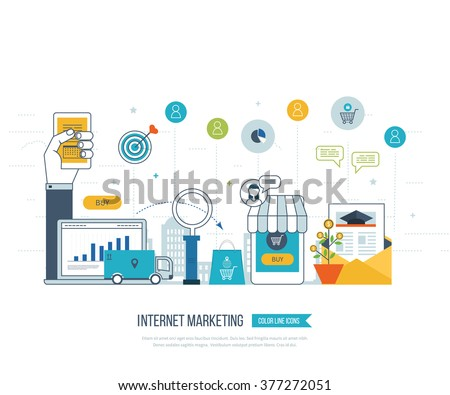 Mobile and internet marketing concept. Online shopping. Shopping basket. Investment business. Strategy for successful business. Mobile banking. Delivery service. Color line icons - stock vector