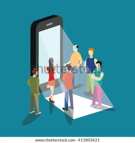 mobile app flat 3d isometry isometric concept  vector illustration. People standing near big smart phone touch screen. Creative people collection. - stock vector