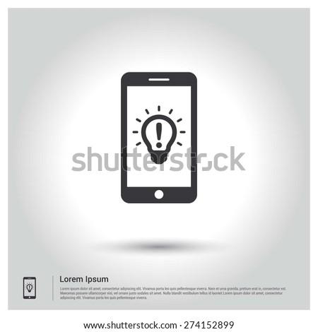 Mobile app idea concept Icon, Flat pictogram Icon design gray background. Vector illustration. - stock vector