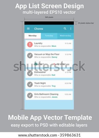 Mobile App List Screen Vector Template - stock vector