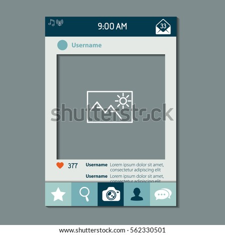 Mobile App Photo Video Frame Set Vector de stock562330501: Shutterstock