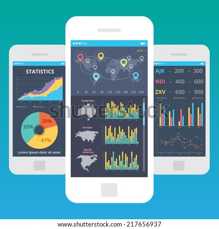 Mobile App Ui Kit Finance Statistics Stock Vector Royalty Free - Table management app