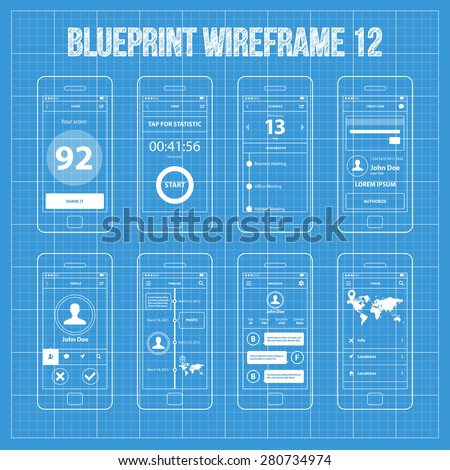 Mobile app wireframe blueprint ui kit stock vector 280734974 mobile app wireframe blueprint ui kit 12 score screen timer screen schedule screen malvernweather Gallery