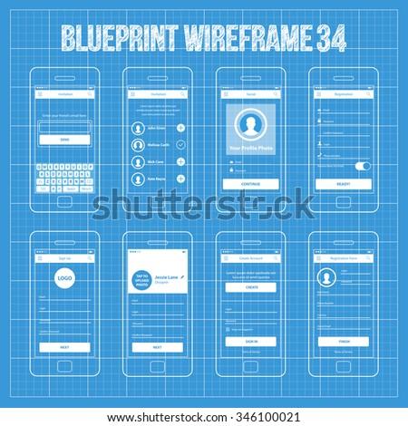Mobile wireframe app ui kit 32 stock vector 331069682 shutterstock mobile app wireframe ui kit 34 invitation screen social screen registration screen malvernweather Gallery