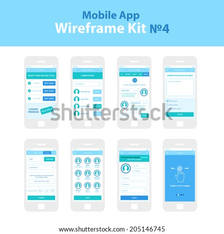 Mobile App Wireframe Ui Kit 4. Order plan screen, select contacts screen, write message screen, advertisement screen, credit card payment screen, friendlist screen, update profile screen, tutorial. - stock vector