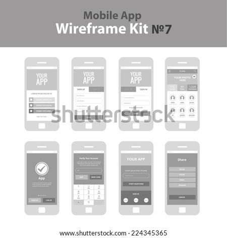Mobile App Wireframe Ui Kit 7. Welcome screen, sign in screen, sign up screen, profile screen, tutorial screen, take the tour screen, verify account screen, your app screen, register screen, share. - stock vector