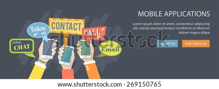 Mobile application concept. Hands holding phones with dialog speech bubbles. Eps10 - stock vector