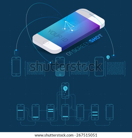 Mobile application concept of phone with color screenshot description and flat wireframes.Vector Illustration. - stock vector