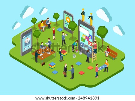Mobile application development company concept flat 3d web isometric infographic vector. Process of different app creation, ui/ux design, projecting, scheduling, promotion. Creative people collection. - stock vector