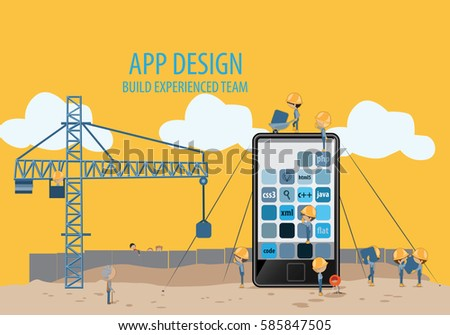 Mobile Application Development,Experienced Team-Vector Illustration,Graphic Design.For Web Site,Print,Presentation Templates,Ui,Mobile And Promotional Materials.Creative Collaboration,Teamwork Concept