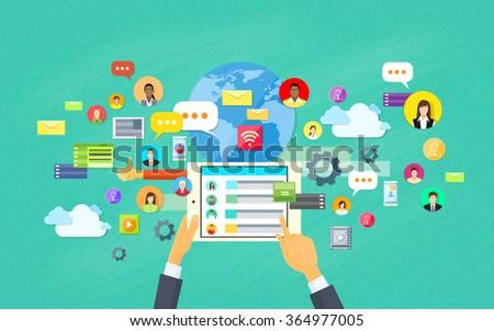 Mobile Application Development, Tablet App Programming Vector Illustration - stock vector