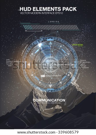 Mobile application HUD interface design. Infographic elements for your projects. Night scenery starry sky and the mountains. Space galaxy futuristic user interface HUD UI UX science background - stock vector
