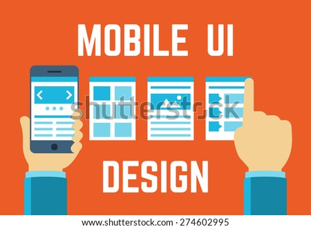 Mobile application interface concept in flat style - stock vector