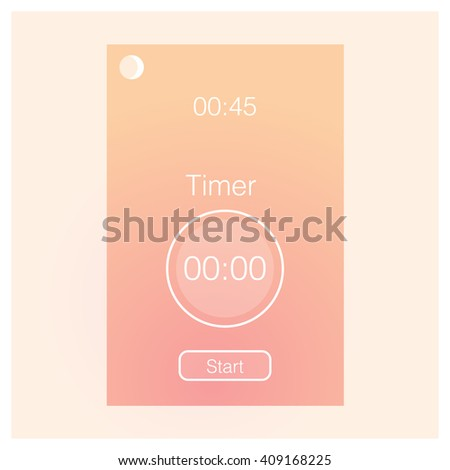 Mobile application interface design timer interface concept. Vector Illustration, eps10, contains transparencies. - stock vector